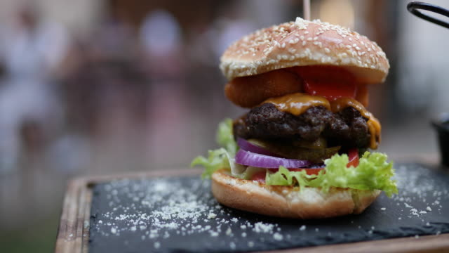 tasty burger on a plate - cheeseburger stock videos & royalty-free footage