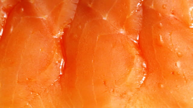 HD: Tasty delicious sliced salmon (video)