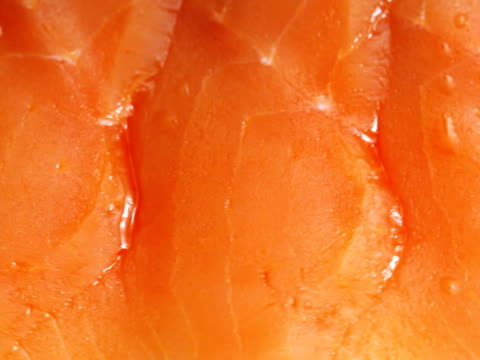 pal: tasty delicious sliced salmon (video) - salmon stock videos & royalty-free footage