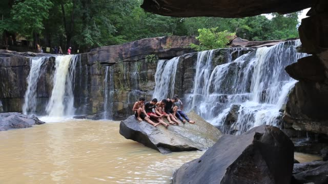tat ton waterfall national park, chaiyaphum province, thailand. - only teenage boys stock videos & royalty-free footage