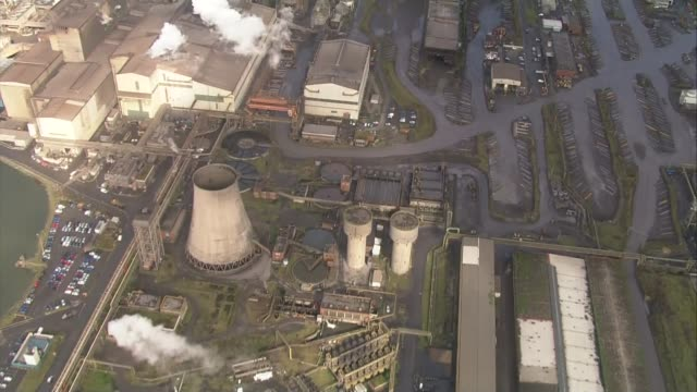 government under pressure to act wales west glamorgan port talbot port talbot steel plant views / aerials tata steel port talbot steel plant... - 通行止め点の映像素材/bロール