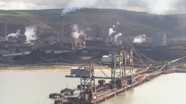 government under pressure to act wales west glamorgan port talbot port talbot steel plant views / aerials tata steel port talbot steel plant - 通行止め点の映像素材/bロール