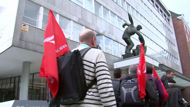 unions meeting in london england london ext 'unite' union members marching towards and past union members arriving at tuc building anna soubry mp... - marching stock videos and b-roll footage