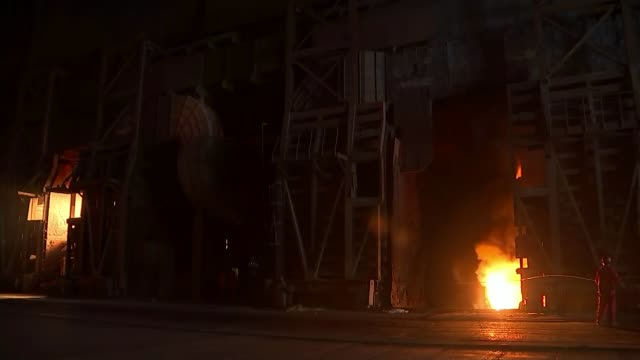 china imposes tariffs on british steel imports t16101525 / china shanghai shagan steelworks furnace worker standing before blast furnace flame and... - blast furnace stock videos & royalty-free footage