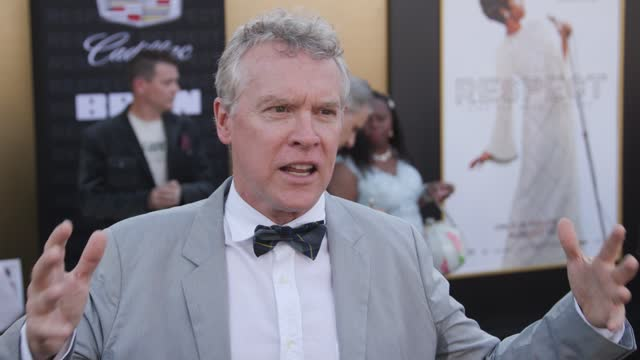 """tate donovan on why he wanted to be a part of this film, the importance of findings one voice and what respect means to him at the """"respect"""" los... - westwood neighborhood los angeles stock videos & royalty-free footage"""