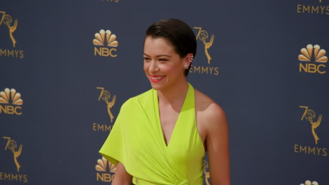 tatiana maslany at the 70th emmy awards arrivals at microsoft theater on september 17 2018 in los angeles california - 70th annual primetime emmy awards stock videos and b-roll footage