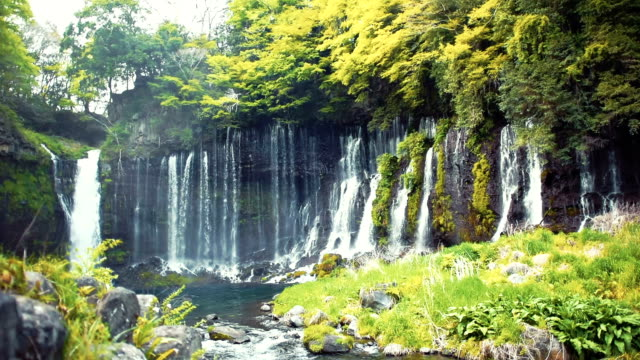 tatsuzanfudou waterfall, fukushima prefecture, japan - waterfall stock videos & royalty-free footage