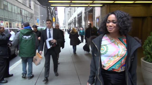 tatyana ali walking to her car outside nbc studios in rockefeller center in new york ny on 1/14/13 - tatyana ali stock videos & royalty-free footage