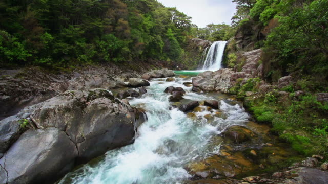 loopable: tawhai falls new zealand - tongariro national park stock videos & royalty-free footage