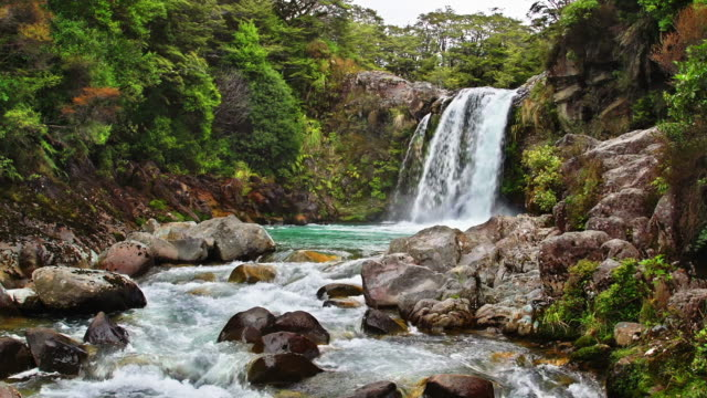 loopable: tawhai falls nz - tongariro national park stock videos & royalty-free footage