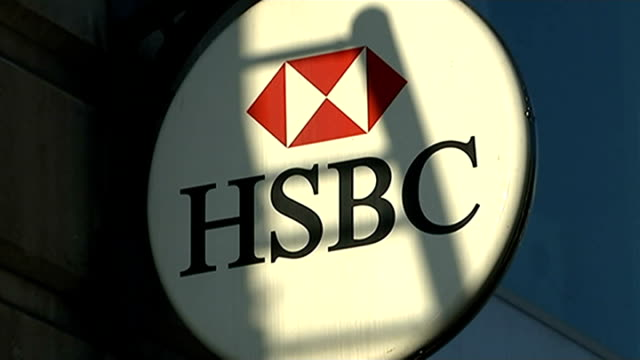 New revelations / Osborne questioned London EXT HSBC bank sign Docklands Various of HSBC headquarters