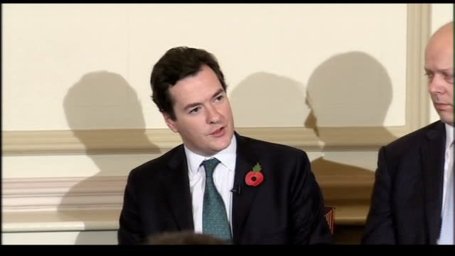 David Cameron press conference Osborne answering questions from journalist about Conservative employment schemes which are based on discussions with...