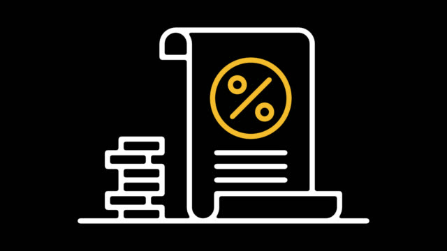 tax return calculator line icon animation with alpha - audit stock videos and b-roll footage