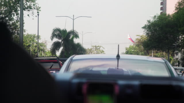 taxi at cebu in a traffic jam, philippines flag - philippines flag stock videos & royalty-free footage