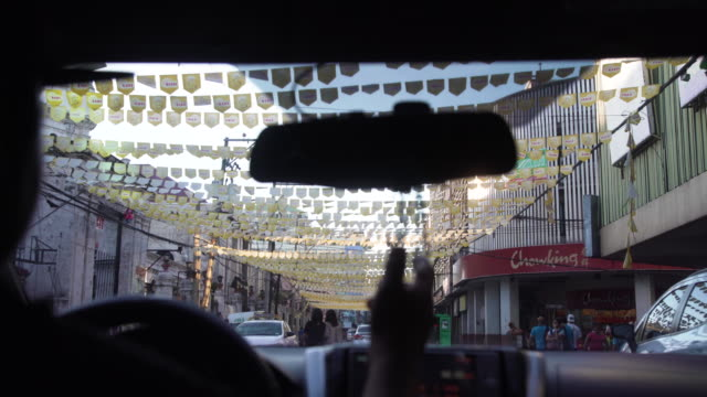 taxi at cebu, philippines flag - philippines flag stock videos & royalty-free footage