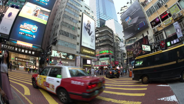 taxi at wanchai crossing - wanchai stock videos and b-roll footage