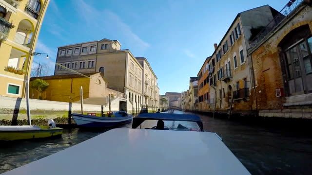 taxi boat in the venetian lagoon - boat point of view stock videos & royalty-free footage