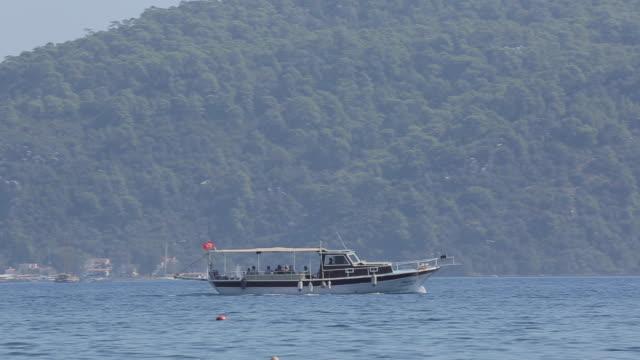 Taxi Boat on Aegean Sea near Iclemer, Marmaris, Anatolia, Turkey