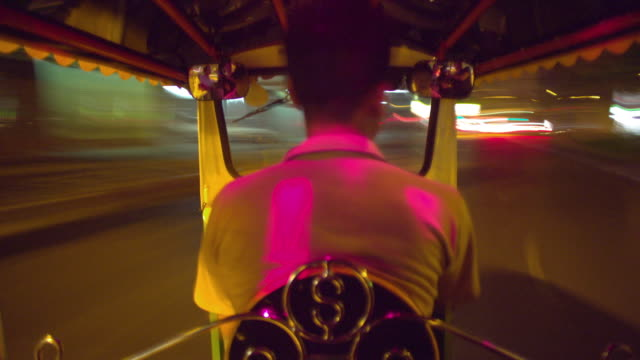 t/l ms pov taxi driver driving tuk tuk at night, bangkok, ayuthaya, thailand - see other clips from this shoot 1448 stock videos and b-roll footage