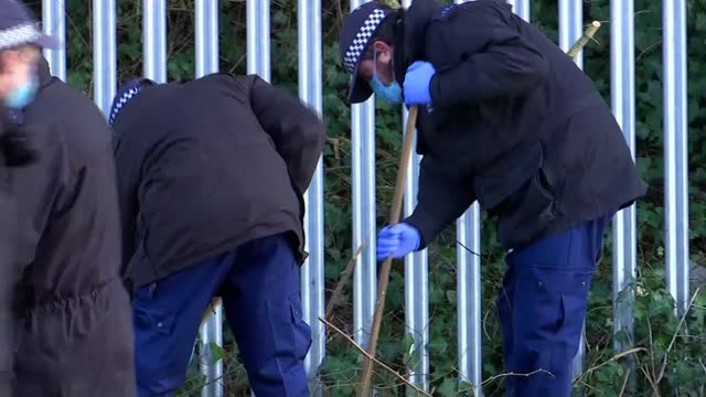 taxi driver murdered in his car in haringey; england: london: haringey: tottenham hale: ext various shots of police officers searing in bushes by... - bush stock videos & royalty-free footage
