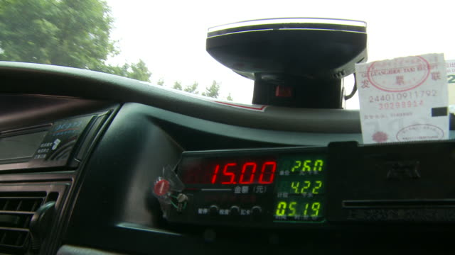 taxi meter display in taxi cab in guangzhou china - meter instrument of measurement stock videos & royalty-free footage