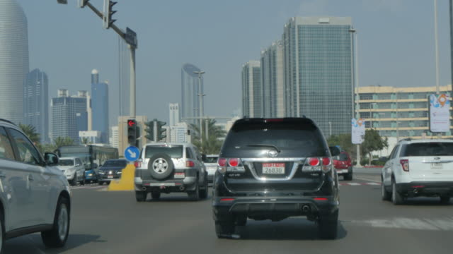 Taxi ride along the Corniche, Abu Dhabi, United Arab Emirates, Middle East, Asia