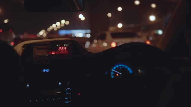Taxi ride in the city