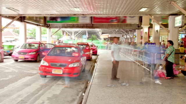 taxi stand time lapse at bangkok train station - taxi stand stock videos and b-roll footage