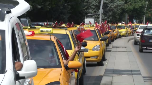 """taxi-drivers join a convoy with their cars to protest and to show solidarity against the """"parallel state/gulenist terrorist organization""""s failed... - taxi stock videos & royalty-free footage"""