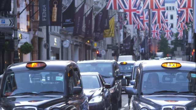 taxis on london's bond street - taxi stock videos & royalty-free footage