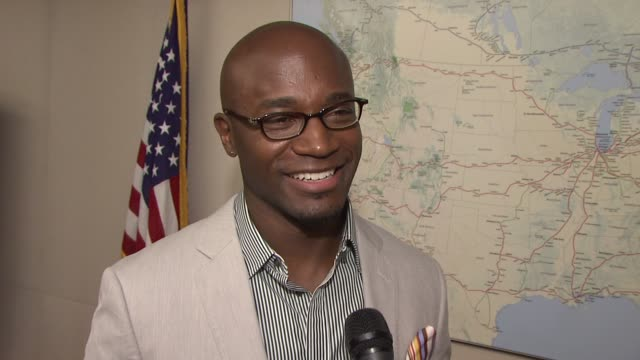 taye diggs on being excited to be out for national train day on always being a big fan of trains and riding them as a kid from new york talks about... - taye diggs stock videos and b-roll footage