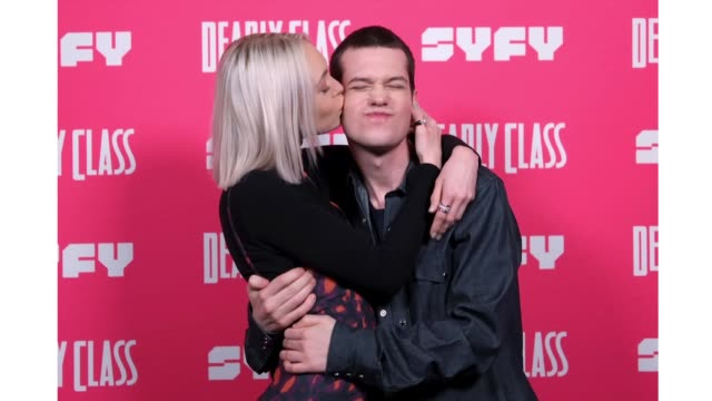 taylor hickson and liam james attend the premiere week screening of syfy's 'deadly class' hosted by kevin smith at the wilshire ebell theatre on... - wilshire ebell theatre stock videos & royalty-free footage