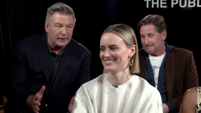 """taylor schilling talks about what makes this such an exciting film at """"the public"""" press day at the whitby hotel on april 01, 2019 in new york city. - emilio estévez video stock e b–roll"""