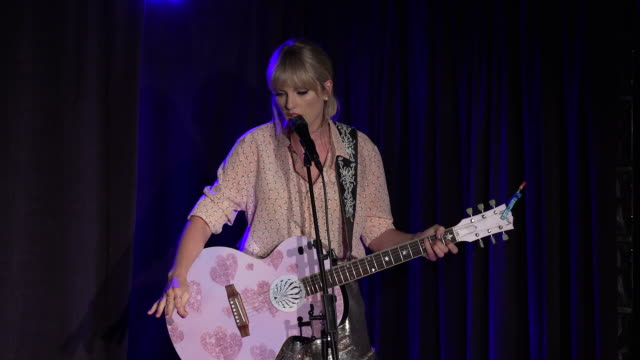 performance taylor swift and jesse tyler ferguson perform at the stonewall inn event evening at the stonewall inn on june 14 2019 in new york city - inn stock videos & royalty-free footage