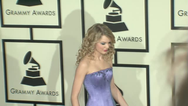 taylor swift at the 50th annual grammy awards at los angeles california. - 2008 stock videos & royalty-free footage