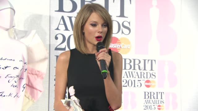 INTERVIEW Taylor Swift on winning an award for 'Best International Female' at The BRIT Awards Winner Press Conference at The O2 Arena on February 25...
