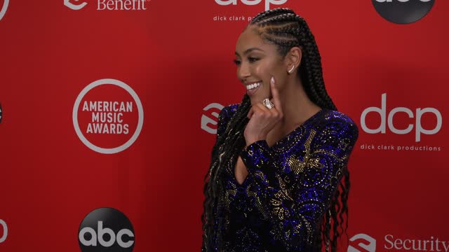 stockvideo's en b-roll-footage met tayshia adams at the 2020 american music awards at the microsoft theater on november 22, 2020 in los angeles, california. - american music awards