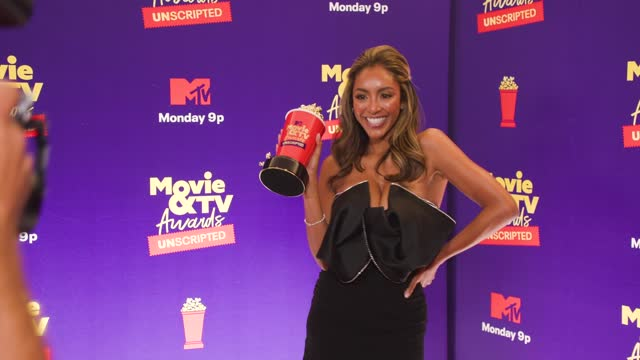 tayshia adams at the 2021 mtv movie & tv awards: unscripted - backstage on may 17, 2021. - mtv stock videos & royalty-free footage