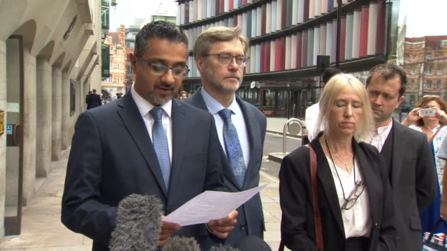 Tayyab Ali solicitor for John Letts and Sally Lane parents of British IS fighter Jack Letts reading a statement after they were found guilty of...