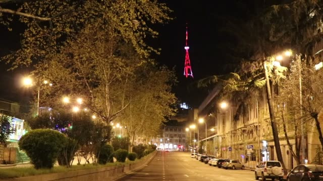 """vídeos y material grabado en eventos de stock de tbilisi tower is illuminated with the colours of turkish flag as solidarity of turkey's fight against covid-19. tbilisi municipality, """"to support... - georgia"""