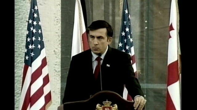 mikheil saakashvili press conference sot - never ever will georgia reconcile with occupation of even one square kilometre of its sovereign territory - kilometre stock videos & royalty-free footage