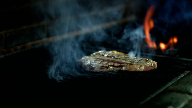 t-bone steak meat cooking on barbecue grill - steak stock videos & royalty-free footage