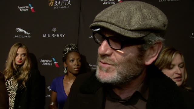 interview tcheky karyo on being at the event on what makes the bafta tea party one of the most prestigious events of the weekend and on getting ready... - tea party stock videos and b-roll footage