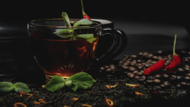 tea and coffee with mint and chili - peperoncino video stock e b–roll