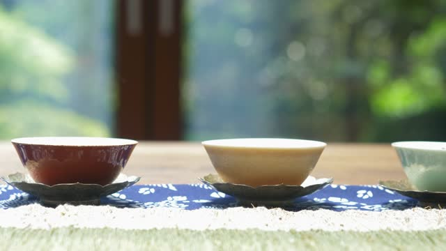 tea cup on table - tea cup stock videos & royalty-free footage