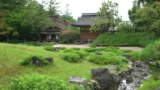 a tea house in isuien garden in nara, japan - kyoto stock videos and b-roll footage