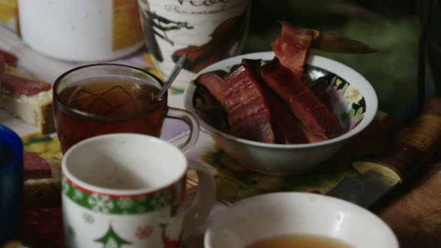 tea served with fish in a yurt, russia - tea kettle stock videos & royalty-free footage