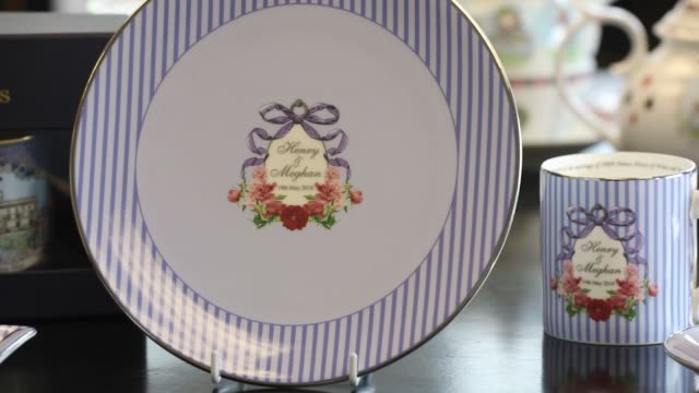 A tea set to commemorate the wedding between Henry Windsor and Meghan Markle stands on display at Halcyon Days Ltd's factory in StokeonTrent UK on...