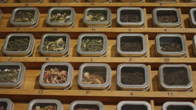 tea shop - dried tea leaves stock videos & royalty-free footage