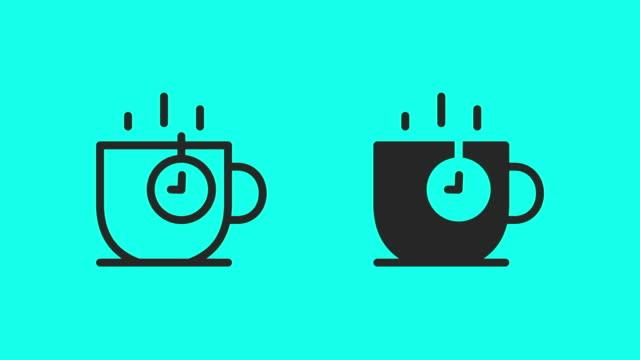 tea time icons - vector animate - tazza da caffè video stock e b–roll